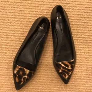 Aerin Black Pointy Calf Hair Shoes